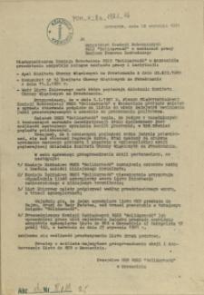 """Do Wszystkich Komisji Robotniczych NSZZ """"Solidarność"""" w zakładach pracy Regionu Pomorza Zachodniego"""