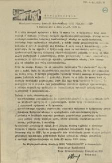 """Oświadczenie Międzyzakładowej Komisji Robotniczej NSZZ """"Solidarność"""" w Szczecinie z dnia 21 marca 1981 r."""