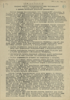 """Oświadczenie Krajowej Komisji Porozumiewawczej NSZZ """"Solidarność"""" z dnia 19.XI.1980 roku w sprawie aktualnych postulatów pracowniczych"""
