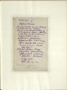 Listy Stanisława Ignacego Witkiewicza do żony Jadwigi z Unrugów Witkiewiczowej. List z 30.04.1926