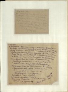 Listy Stanisława Ignacego Witkiewicza do żony Jadwigi z Unrugów Witkiewiczowej. Kartka pocztowa z 24.05.1927.List z 27.05.1927.