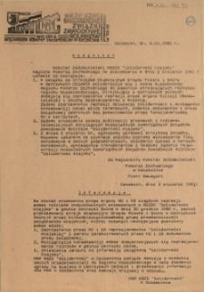 """Komunikat [Inc.:] Komitet Założycielski NSZZR """"Solidarność Wiejska"""" Regionu Pomorza Zachodniego na posiedzeniu w dniu 2 stycznia 1981 r. uchwala [...]"""
