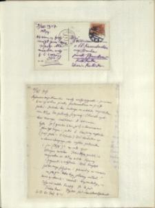 Listy Stanisława Ignacego Witkiewicza do żony Jadwigi z Unrugów Witkiewiczowej. Kartka pocztowa z 09.07.1927.List z 11.07.1927.