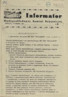 Informator Międzyzakładowej Komisji Robotniczej. 1981 nr 3