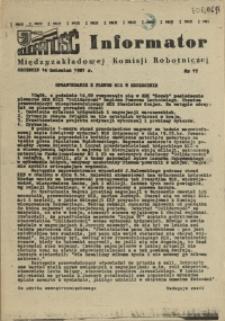 Informator Międzyzakładowej Komisji Robotniczej. 1981 nr 17