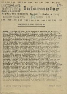 Informator Międzyzakładowej Komisji Robotniczej. 1981 nr 20