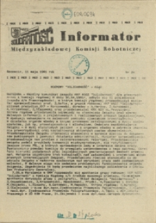Informator Międzyzakładowej Komisji Robotniczej. 1981 nr 24