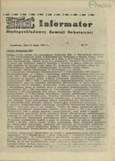 Informator Międzyzakładowej Komisji Robotniczej. 1981 nr 27