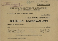 [Zaproszenie. Inc.:] Związek Samopomocy Chłopskiej Koło Grodzkie m. Słupska urządza [...]