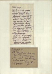 Listy Stanisława Ignacego Witkiewicza do żony Jadwigi z Unrugów Witkiewiczowej. List z 24.08.1927. Kartka pocztowa z 26.08.1927