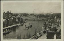 Stettin, Teilansicht mit Baumbrücke und Bollwerk