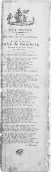 Aux Muses : Le Jour anniversaire de la naissance de Madame la Baronne Julie de Romberg Chanoinesse de tres illustre Chapitre de Herdeke. Stettin 1801