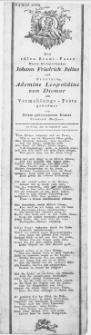 Dem edlen Braut-Paare Herrn Hofapothecker Johann Friedrich Julius und Fräulein Ademine Leopoldine von Diemar am Vermählungs-Feste : Colberg, den 16. September 1802
