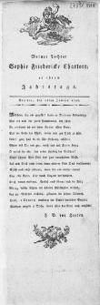 Meiner Tochter Sophie Friedericke Charlotte an ihrem Jahrstage : Stettin, den 26ten Junius 1798
