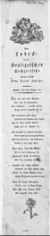 Dem Lobeck- und Heyligerschen Hochzeitfeste : Stettin, den 10ten Februar 1793