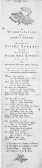 Am Vermählungstage unserer geliebten Schwester der Demoiselle Ulricke Langner mit dem Kaufmann Herrn Carl Droysen bezeigen wir die [...] Wünsche unsers Herzens : Stettin, den 21. April 1804