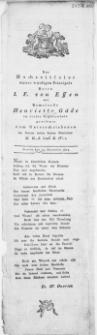 Der Hochzeitfeier unsers würdigen Principals Herrn I. F. von Essen mit Demoiselle Henriette Gäde : Stettin den 13. December 1804