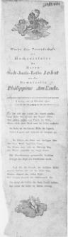 Worte der Freundschaft zur Hochzeitfeier des Herrn Stadt-Justiz-Raths Jobs mit der Demoiselle Philippine AmEnde : Stettin, am 18. Oktober 1810