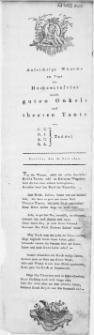 Aufrichtige Wünsche am tage Hochzeitsfeier unsers guten Onkels und theuren Tante : Stettin, den 16. Juli 1811