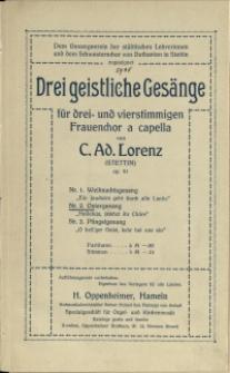 """Drei geistliche Gesänge : für drei- und vierstimmigen Frauenchor a cappella : op. 91. Nr. 2, Ostergesang """"Halleluja, jauchzt ihr Chöre"""""""