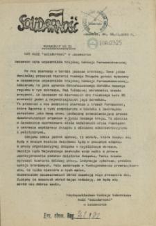 "Komunikat Międzyzakładowej Komisji NSZZ ""Solidarność"". 1980 nr 21"