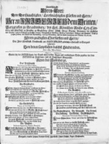 Unterthänigste Ehren-Wort, Dem [...] Herrn Friderich dem Dritten, Margraffen zu Brandenburg [...] Ihrem gnädigsten [...] Herrn, Bey Ihrer Churfürstl. [...] zu Huldigungs glücklichen Einkunfft in Stargard