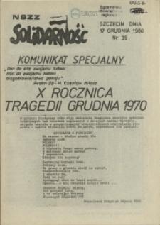 "Komunikat Międzyzakładowej Komisji NSZZ ""Solidarność"". 1980 nr 39"