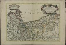 Le Duché de Pomeranie compris sous le Cercle de la Haute Saxe divisé suivant qu'il est presentement partagé entre la Couronnr de Suede et l'Eslecteur de Brandebourg, ou sont Les Duchés de Pomeranie, de Stettin, de Wolgast, de Bardt, de Cassubie, et de Vandalie, la Principaute et Isle de Rugen, le Comté de Gutzkow, les Seigneuries de Louwenborch, et de Butow