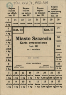 [Druk ulotny] Miasto Szczecin : Karta żywnościowa kat. III na 2 miesiące