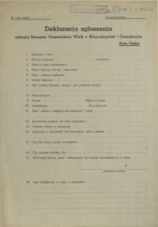 [Druk urzędowy] Deklaracja zgłoszenia członka Związku Uczestników Walk o Niepodległość i Demokrację