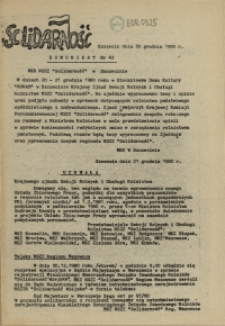 "Komunikat Międzyzakładowej Komisji NSZZ ""Solidarność"". 1980 nr 43"