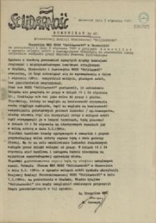 """Komunikat Stoczniowej Komisji Robotniczej NSZZ """"Solidarność"""". 1981 nr 47"""