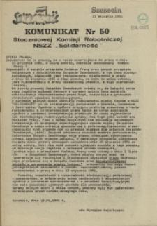 """Komunikat Stoczniowej Komisji Robotniczej NSZZ """"Solidarność"""". 1981 nr 50"""