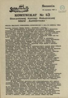 """Komunikat Stoczniowej Komisji Robotniczej NSZZ """"Solidarność"""". 1981 nr 53"""