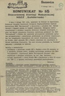 """Komunikat Stoczniowej Komisji Robotniczej NSZZ """"Solidarność"""". 1981 nr 55"""