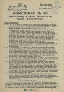 """Komunikat Stoczniowej Komisji Robotniczej NSZZ """"Solidarność"""". 1981 nr 58"""