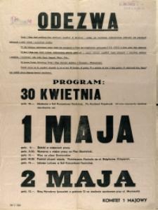 [Afisz. Inc.:] Odezwa : Święto 1 Maja, dzień mobilizacji klasy robotniczej [...]