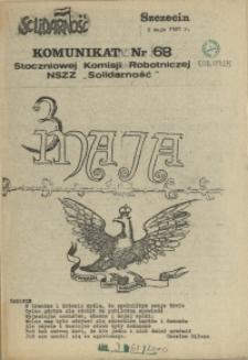 """Komunikat Stoczniowej Komisji Robotniczej NSZZ """"Solidarność"""". 1981 nr 68"""