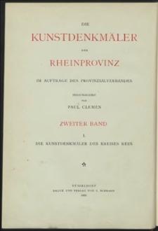 Die Kunstdenkmäler der Rheinprovinz. Bd. 2/1, Die Kunstdenkmäler des Kreises Rees im Auftrage des Provinzialverbandes der Rheinprovinz