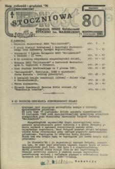 """Jedność Stoczniowa : tygodnik NSZZ """"Solidarność"""" Stoczni im. Warskiego. 1981 nr 80"""