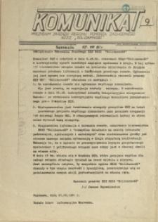 """Komunikat Prezydium Zarządu Regionu Pomorza Zachodniego NSZZ """"Solidarność"""". 1981 nr 9"""