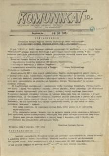 """Komunikat Prezydium Zarządu Regionu Pomorza Zachodniego NSZZ """"Solidarność"""". 1981 nr 10A"""