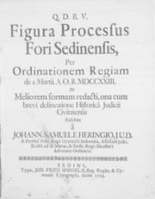 Figura Processus Fori Sedinensis, Per Ordinationem Regiam de I. Martii [...] MDCCXXIII. In Meliorem formam redacti, una cum brevi delineatione Historica Judicii Civitatensis exhibita