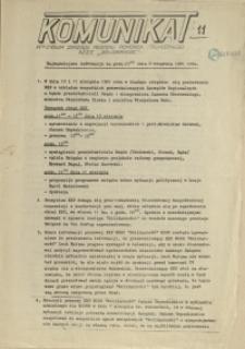 """Komunikat Prezydium Zarządu Regionu Pomorza Zachodniego NSZZ """"Solidarność"""". 1981 nr 11"""