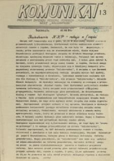 """Komunikat Prezydium Zarządu Regionu Pomorza Zachodniego NSZZ """"Solidarność"""". 1981 nr 13"""
