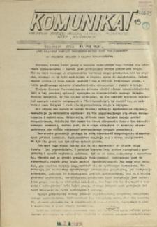 """Komunikat Prezydium Zarządu Regionu Pomorza Zachodniego NSZZ """"Solidarność"""". 1981 nr 15"""