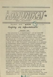 """Komunikat Prezydium Zarządu Regionu Pomorza Zachodniego NSZZ """"Solidarność"""". 1981 nr 18"""