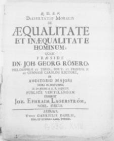 Dissertatio moralis de aequalitate et in aequalitate hominum