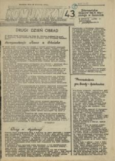 """Komunikat Prezydium Zarządu Regionu Pomorza Zachodniego NSZZ """"Solidarność"""". 1981 nr 43"""