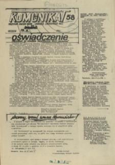 """Komunikat Prezydium Zarządu Regionu Pomorza Zachodniego NSZZ """"Solidarność"""". 1981 nr 58"""